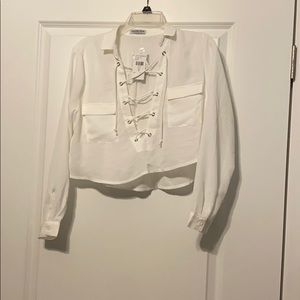 White Cropped Top with Collar